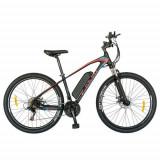 Bicicleta Electrica MTB CARPAT C1009E, roti 27.5inch, Motor 250W, autonomie 60km, cadru 18inch aluminiu, frane mecanice disc, 21 viteze (Negru/Rosu)