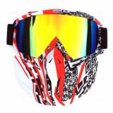 Masca protectie fata plastic dur + ochelari ski, lentila multicolora, MCMFR01