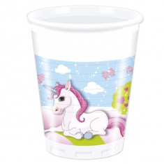 8 Pahare plastic Unicorn 200ml