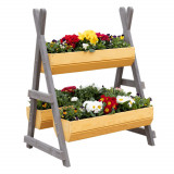 Suport pentru flori din lemn, natural gri, BERON