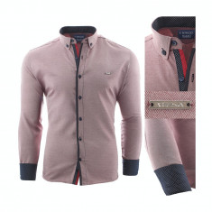 Camasa pentru barbati, slim fit, rosu deschis, casual, cu guler - enrico rizo sedna willow, 3XL, XL, XXL