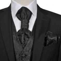 Set vestă nuntă pentru bărbați cu imprimeu Paisley, mărime 52, negru