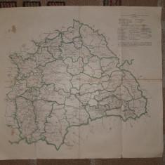 HARTA CU IMPARTIREA ADMINISTRATIVA IN TINUTURILE UNGARIEI,LOCUITE DE ROMANI,1920