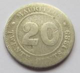 Moneda 20 cents 1889 - Mauritius, 2,3320 g argint 0,8000, tiraj: 250000, Africa