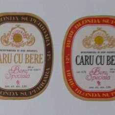 Eticheta Bere - Caru Cu Bere - Bucuresti 1977 - 1980 - Etichete - 2 bucati