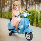 Scooter Vespa 6V cu faruri pentru copii, Bleu