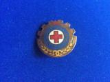 Insignă crucea roșie - Insignă România - Gata pentru apărarea sanitară - RPR