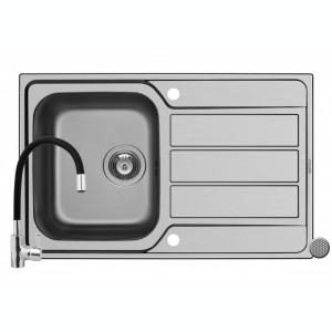 Pachet chiuveta ATHENA 79x50 1B 1D LN + Baterie Black FLESSI Pyramis Grey