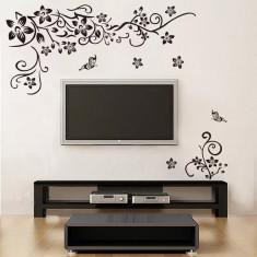 Stickere sufragerie Flori si fluturi Negru 130x80 cm