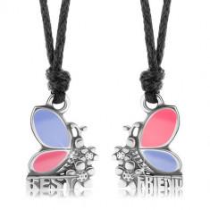 Două coliere pentru prieteni, fluturi roz și mov, flori, BEST FRIEND