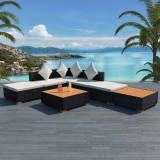 Set mobilier de grădină 16 piese, poliratan, blat WPC, negru