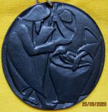Sfanta Familie-placă de perete Buchtal.Ceramica Vintage.Aprox18,5 cm.
