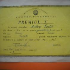HOPCT DIPLOMA PREMIUL I SCOLAR-1964-1965-NR 84 RPR MINISTERUL INVATAMINTULUI
