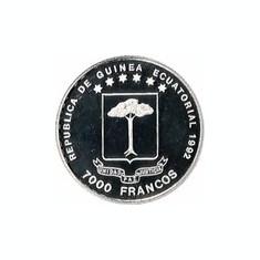 Guineea Ecuatoriala 7000 Francos 1992 Krabbe), Argint 10.48g/999, Aoc1 KM-80 UNC
