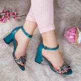 Sandale Piele Vabitili verzi cu toc gros