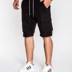 Pantaloni scurti pentru barbati negru cu siret buzunare laterale casual P527