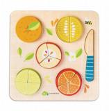 Puzzle educativ Fractionarea fructelor, din lemn