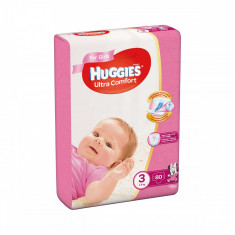 Scutece Huggies Mega Comfort Girls, Nr 3, 5 - 9 Kg, 80 buc