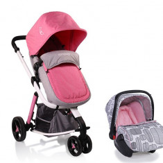 Carucior Copii 3 in 1 Cangaroo Sarah Grey and Pink