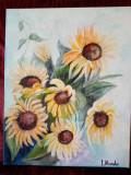 Floarea soarelui 2-pictura ulei pe panza, Flori, Altul