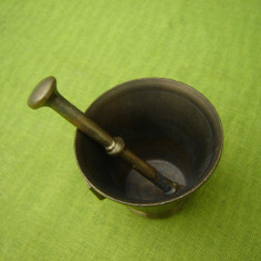 Mojar mic din bronz cu 2 manere si pistil