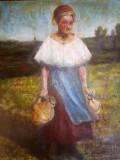 Tablou vechi semnat indecifrabil, Portrete, Ulei, Impresionism
