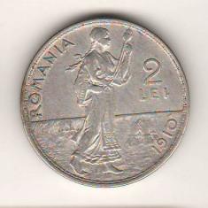 SV * Romania   2  LEI  1910  *  ARGINT .835  *  Regele Carol I       XF + luciu