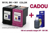 PACHET Cartus negru HP 901XL + Cartus color HP901 tricolor compatibile + 100 ML...