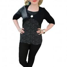 Bluze cu maneca lunga, in nuante de negre-albe, cu buline, 42, 44, 46, 48, 50, Negru