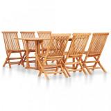 Cumpara ieftin Set mobilier de exterior pliabil 7 piese lemn masiv de tec