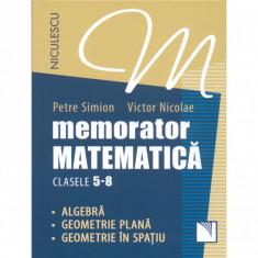 Memorator. Matematica pentru clasele 5-8. Algebra. Geometrie plana. Geometrie in spatiu