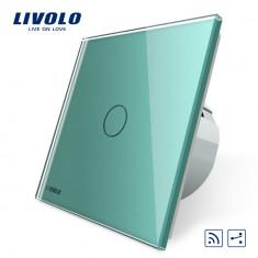 Intrerupator cap scara / cap cruce wireless cu touch Livolo din sticla, Verde