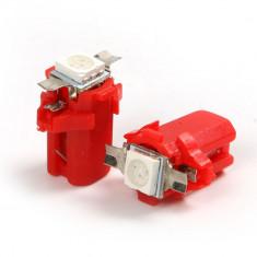 Led bec 1 smd 5050 soclu T5 B8.3D pentru bord de culoare rosu