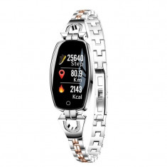 Bratara Smart Fitness Sport Argintie Waterproof si Eleganta pentru Dama H8 cu Monitorizare Somn si Cardiaca