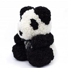 Ursulet panda din trandafiri in cutie, 40 cm, Gonga