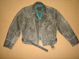 Geaca barbati/Moto/Motor/Rocker/piele naturala bovina/Vintage/Culoare gri