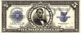5 dolari 1923 Reproducere Bancnota USD , Dimensiune reala 1:1