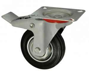 Roata carucior 5 - talpa metal - rulment - 125/37.5-50 - frana - MTO-GPA00066