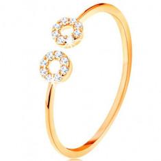 Cumpara ieftin Inel din aur 375 cu brațe înguste despărțite, cercuri mici din zirconii - Marime inel: 52