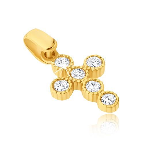 Pandantiv din aur galben 14K - cruce cu zirconii rotunde în monturi