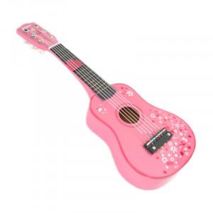 Chitara lemn pentru copii, 52 x 18 x 5 cm, 3 - 5 ani, Roz