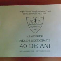 Grupul scolar Virgil Madgearu Remember file de monografie 40 de ani