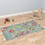 Covoraș de joacă, fir buclat, 80 x 120 cm, model străzi urbane