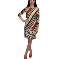 Rochie de zi cu cu dungi si imprimeu animal-print ,multicolora, Multicolor, 36, 38, 40, 42