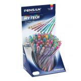 Cumpara ieftin Set 60 de Pixuri PENSAN My Tech Color, Mine Diferite Culori, Varf 0.7 mm, Corp din Plastic Transparent, Pixuri Colorate, Pixuri cu Pasta Colorata, Pix