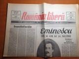 romania libera 16 ianuarie 1990-140 ani de la nasterea lui mihai eminescu