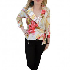 Bluza rafinata tip camasa, multicolora, cu maneca trei-sferturi