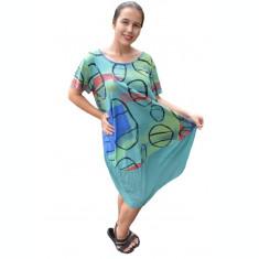 Rochie Agnette, din bumbac, model cu cercuri, nuanta verde