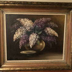 Tablou vechi german,ulei pe panza,vaza cu flori