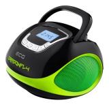 Radio multimedia Ecg Dragonfly, 2 x 3 W, 1200 mAh, USB, SD, FM, ceas cu alarma, Negru/Verde, General